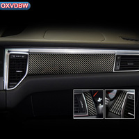 For porsche macan Accessories Car interior decoration moulding Trim Strips Carbon Fiber Car Central Control Strip decal Sticker