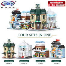 4pcs/lot Xingbao Blocks Plastic Building Toy Street Mini Shop Model Small Coffee Store Educational Kids toys Children Gift 01105(China)