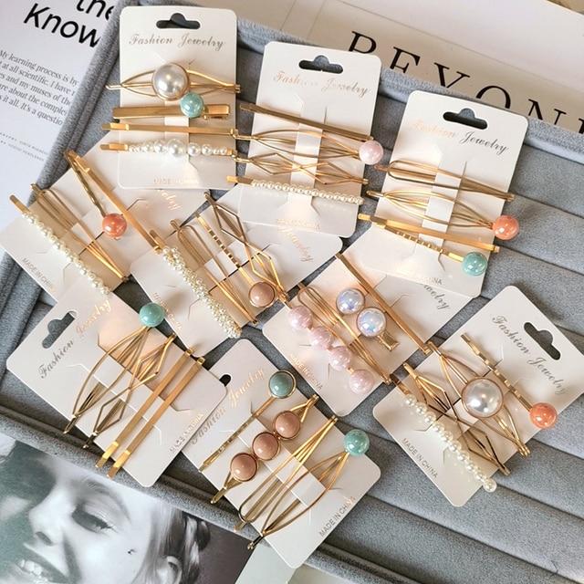 4 шт./компл. Imitiation жемчужные бусы Красочные шпильки геометрической формы для Для женщин мода нерегулярные металлические заколки аксессуары для волос, Корея
