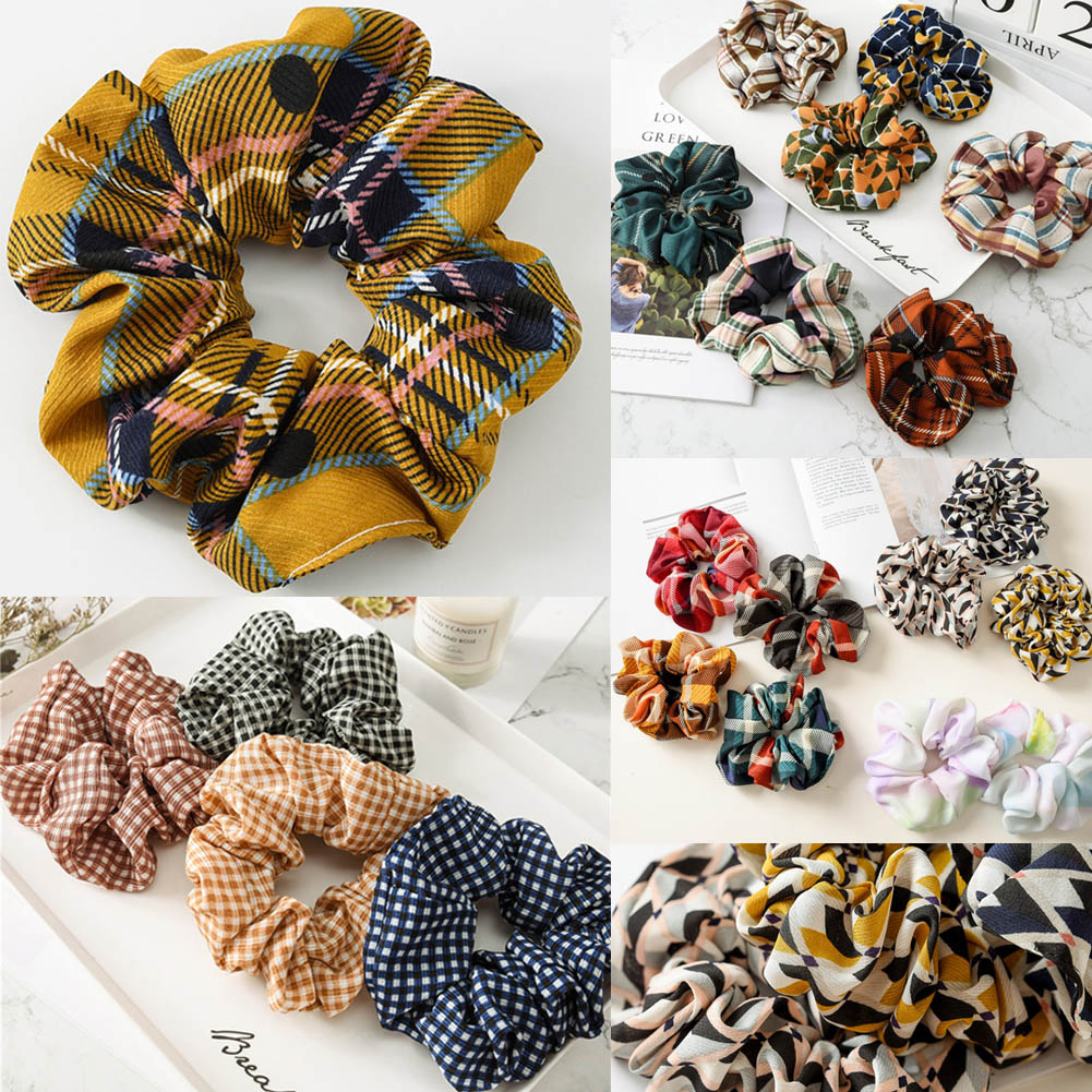 26 Colors Lattice Scrunchie Women Girls Elastic Hair Rubber Bands Accessories Gum For Women Tie Hair Ring Rope Ponytail Holder