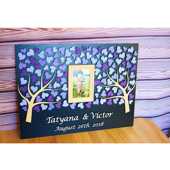 Wedding Guest Book Alternative Tree Custom Wedding Frame Guest Book 3D Personalized Wedding Guest Book Couple Photo Guest Book