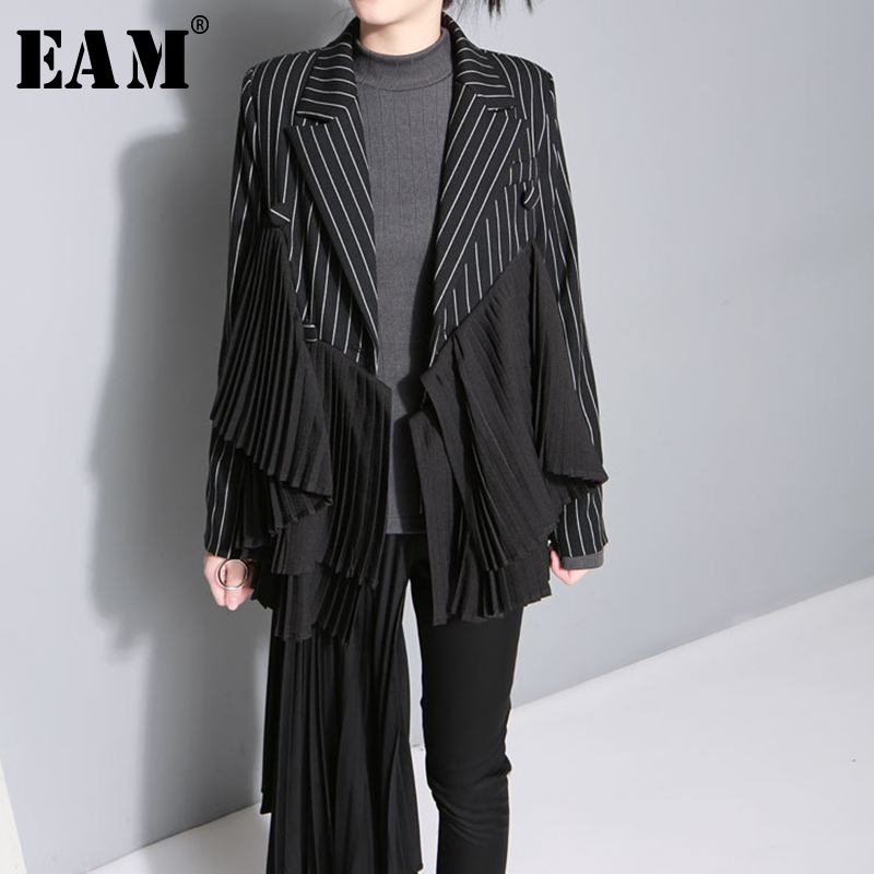 EAM 2019 New Spring Summer Lapel Long Sleeve Black Striped Irregular Pleated Stitch Jacket Women