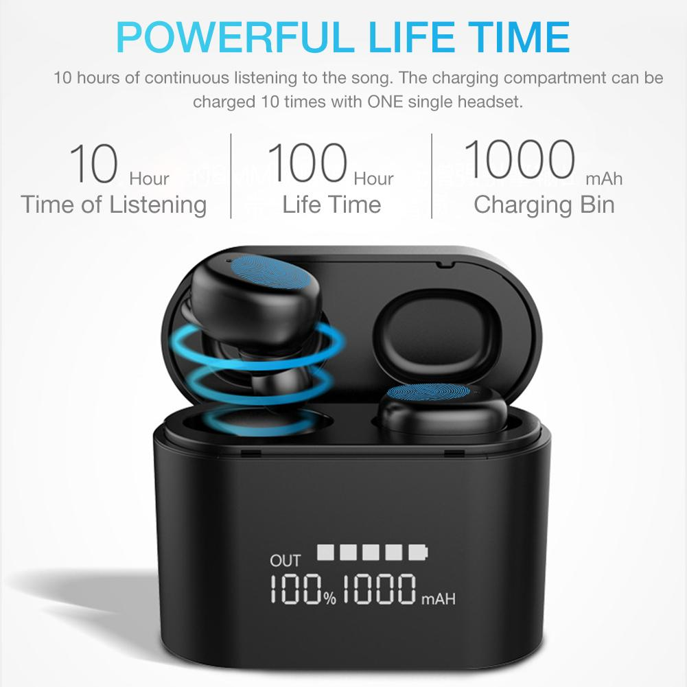 TWS Bluetooth 5 0 Wireless Headset In ear Intelligent Noise Reduction Touch Operation Large Battery IP67 Waterproof Earphones in Bluetooth Earphones Headphones from Consumer Electronics