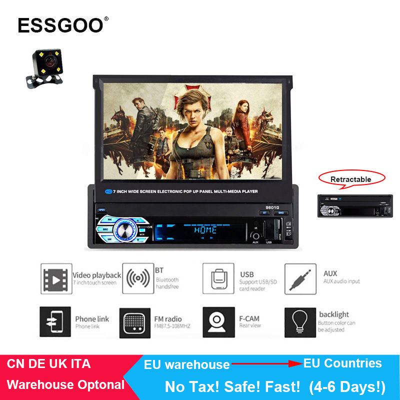 Essgoo 7 Car Multimedia Mp5 Player Car Radios 1DIN Retractable Screen Bluetooth Autoradio Stereo FM Support USB Charging Tf AuxEssgoo 7 Car Multimedia Mp5 Player Car Radios 1DIN Retractable Screen Bluetooth Autoradio Stereo FM Support USB Charging Tf Aux