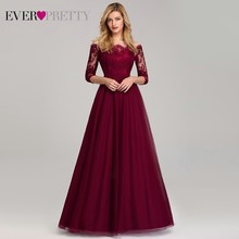 Vintage Burgundy Evening Dresses Long Off the Shoulder Boat Neck Ever Pretty EP07894 2019 Sexy Lace Tulle Elegant Party Gown