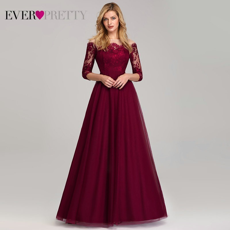 Vintage Burgundy Evening <font><b>Dresses</b></font> Long Off the Shoulder Boat <font><b>Neck</b></font> Ever Pretty EP07894 2019 <font><b>Sexy</b></font> Lace Tulle <font><b>Elegant</b></font> Party Gown image