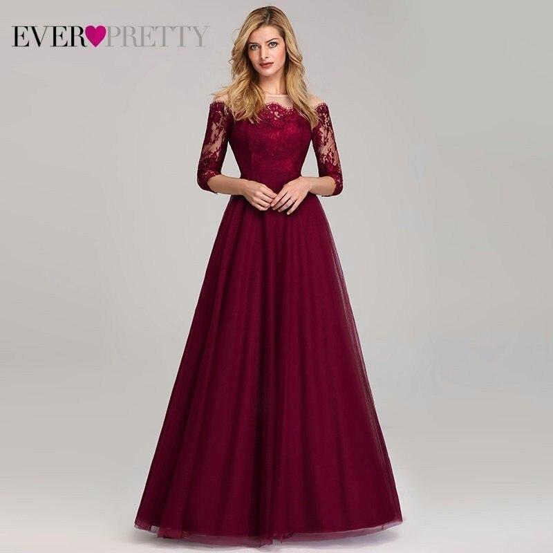 Vintage bordeaux robes de soirée longue épaule bateau cou jamais jolie EP07894 2019 Sexy dentelle Tulle élégant robe de soirée