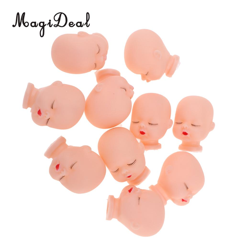 10 Pieces Red Lips Sleeping Baby Doll Heads Sculpt For Mini Keychain Baby Toy DIY Custom Body Parts