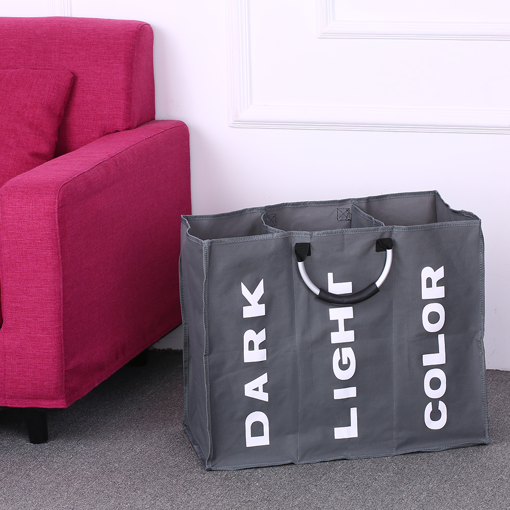 Laundry Basket 3-Section Large Foldable Laundry Basket Durable Oxford Cloth Dirty Clothes Storage Bag With Aluminum Handles(China)