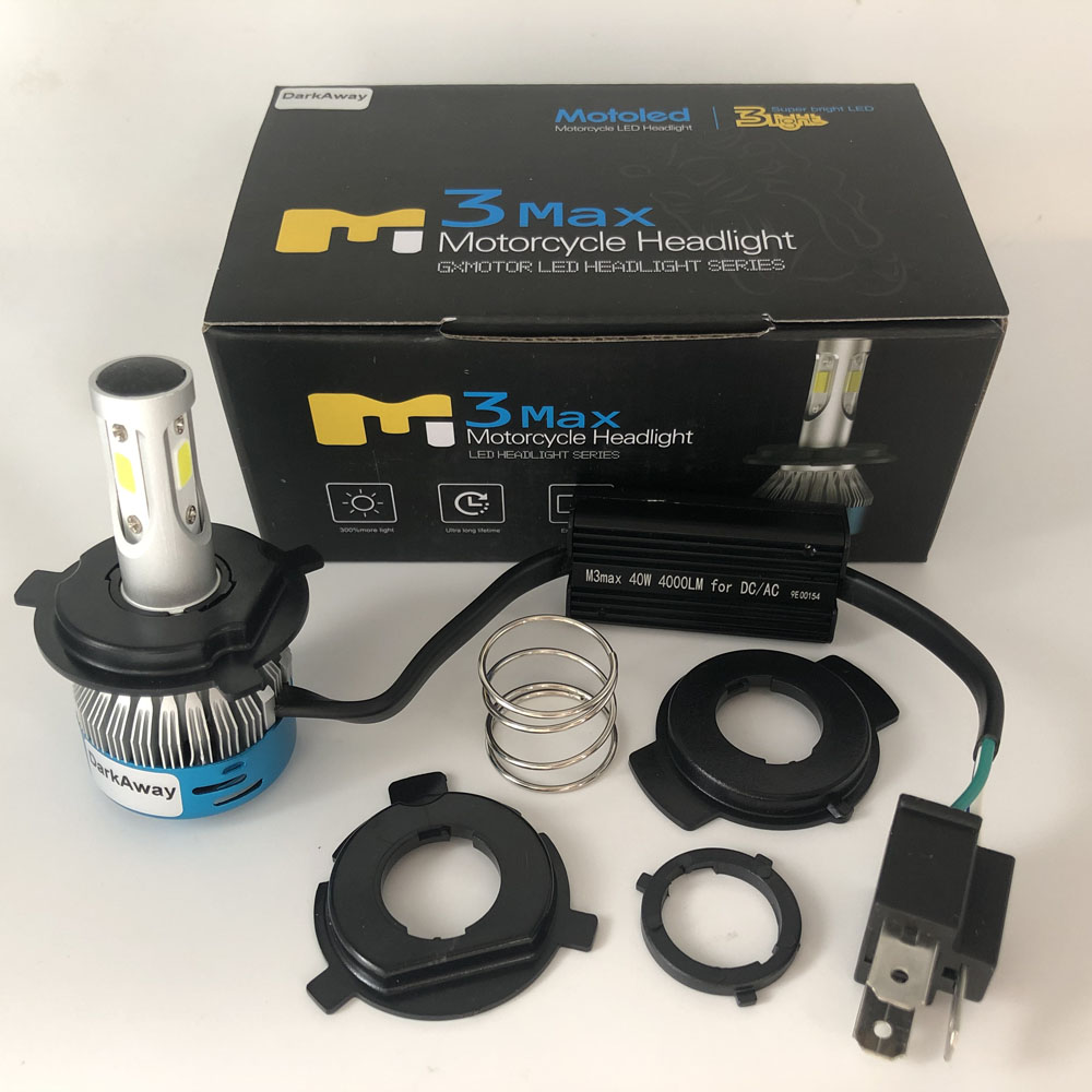DarkAway AC DC H4 <font><b>LED</b></font> Motorcycle <font><b>Headlight</b></font> Bike <font><b>HS1</b></font> PH7 PH8 BA20D H6 H4 <font><b>LED</b></font> Bulb Lamp 360 Degrees Beam IP67 White 40W 4000Lm image