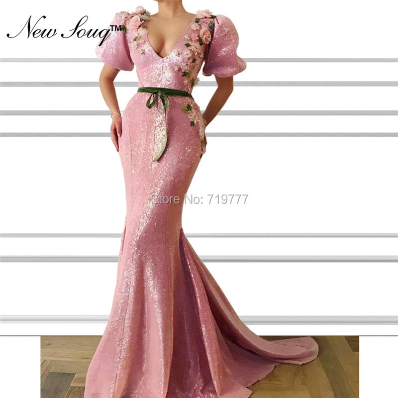 Pink Muslim   Evening     Dress   2019 Mermaid Islamic Dubai Saudi Arabic Formal Party   Dress   With Short Sleeves V Neck Long Prom   Dresses