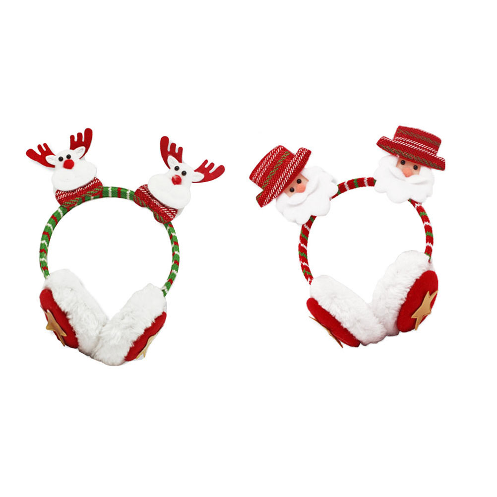 2pcs Christmas Cartoon Earmuffs Winter Headbands Assorted Headdress Party Costume Accessories