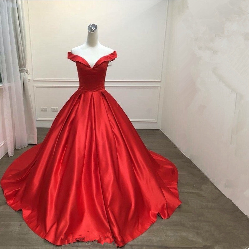 Katristsis d 2019 Off shoulder Reflective   prom     dress   Vestido de Festa ball gown Satin lace-up style Satin Evening   Prom     Dresses
