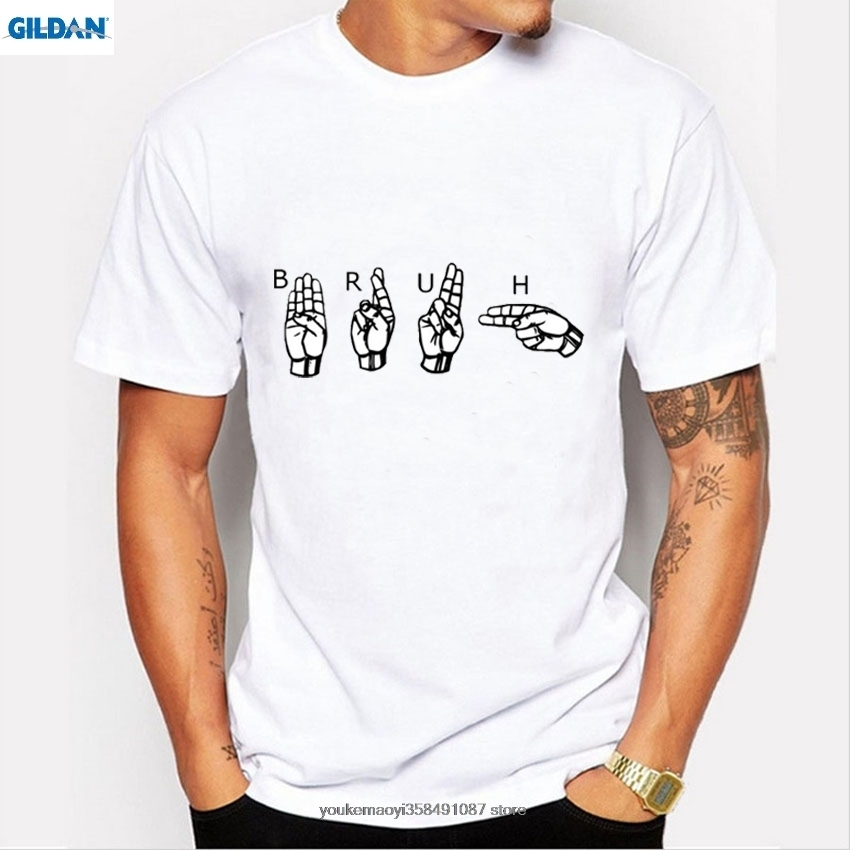 GILDAN New Men 39 s Tshirt Fashion Gesture Language Print T Shirt Men Funny Sign Language Tops T shirt Male Short Sleeve Tees in T Shirts from Men 39 s Clothing