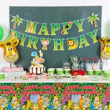 1pc Jungle Party Animal Birthday Decorations For Kids Summer Happy Banner Palm Tree Hanging Decor