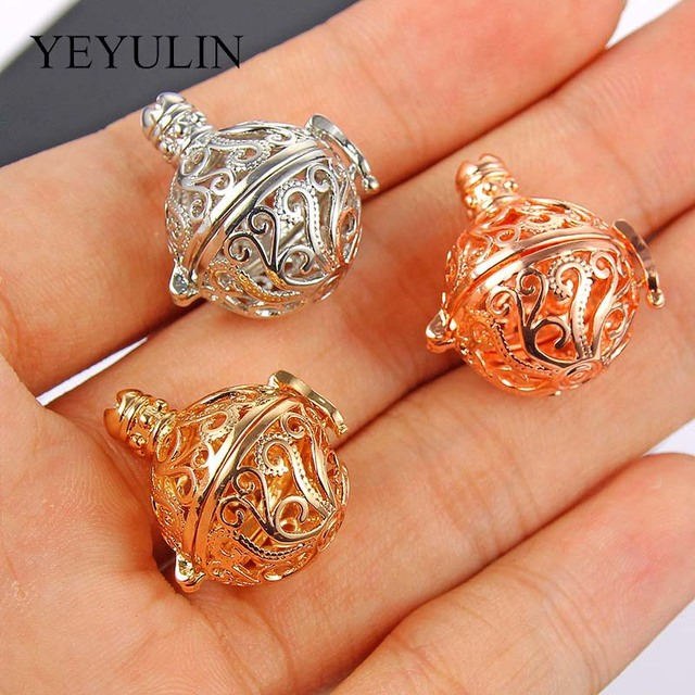 5 Pcs Golden White K Seaweed Pattern Copper Locket Ball Pendant For Necklace Components Making Aroma Oil Diffuser Jewelry