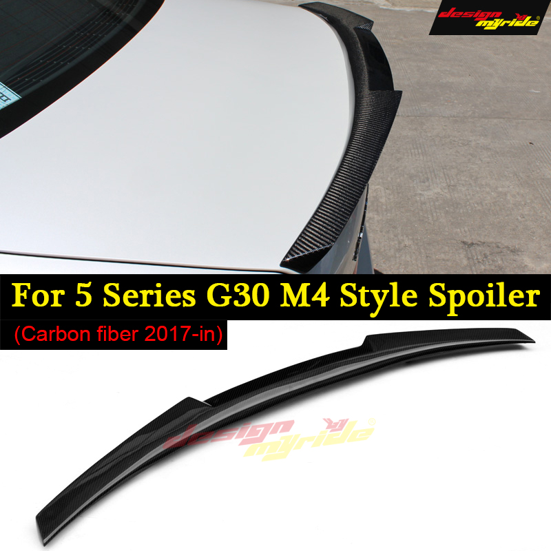 <font><b>G30</b></font> Spoiler Rear Trunk Wing tail AEM4 Style Carbon Fiber For <font><b>G30</b></font> <font><b>520i</b></font> 530i 530d 540i 550i Rear Trunk lip Spoiler Car Wing 2017+ image