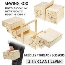 29,5x19x18 см Портативный Расширяемый Деревянный чехол для хранения, деревянная коробка, винтажная Ювелирная косметика, бытовая коробка для шитья, кольцо