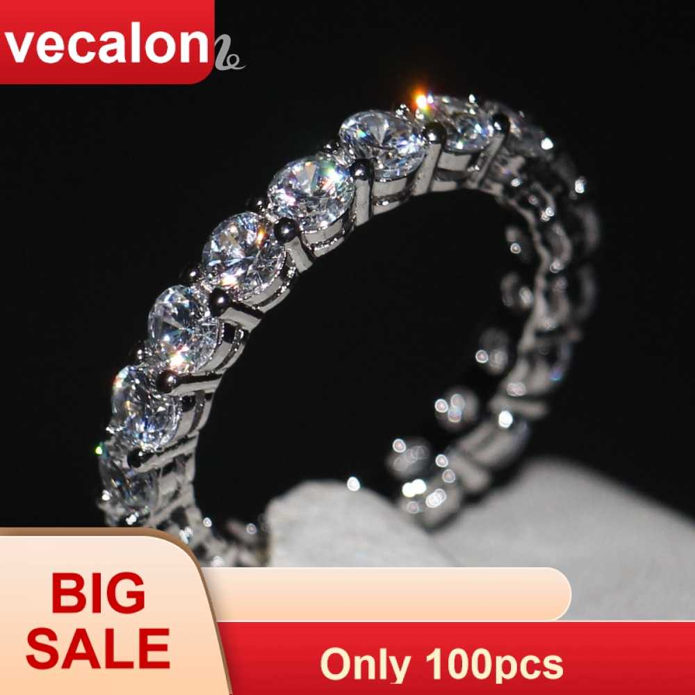 Vecalon Women band Ring Round cut 4mm AAAAA Zircon cz 925 Sterling Silver Engagement wedding ring for women Fashion Jewelry