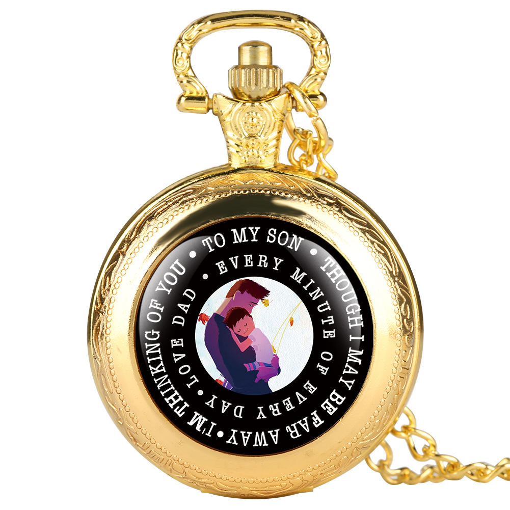 Novel Cute Silver Quartz Pocket Watch For Boys Love Dad Series Pocket Watches With Cartoon Figure For Son Full Cover Round Dial