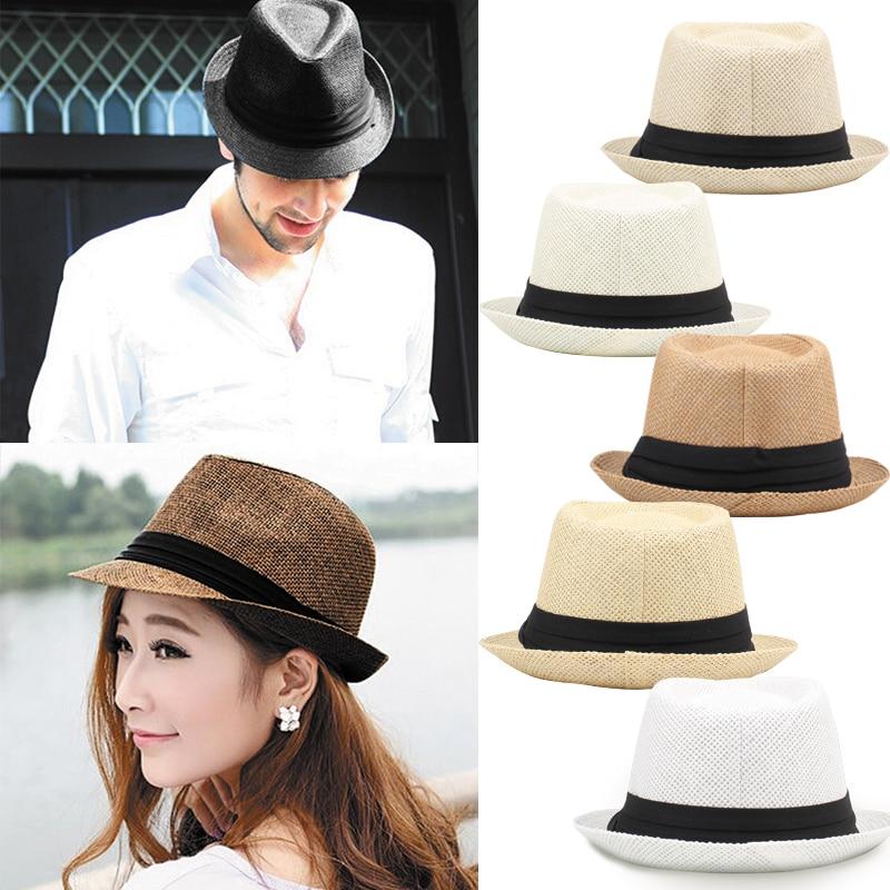 Moda Das Mulheres Dos Homens do Chapéu de Palha Fedora Fita de Contraste  Pinch Coroa Curly 165da20c3ef