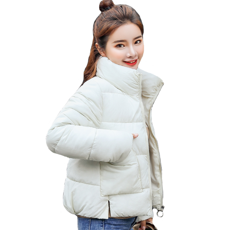 Stand Collar White Black Winter   Jacket   Women Cotton Padded Autumn Casaco Feminino Inverno Students Female Coat   Basic     Jacket