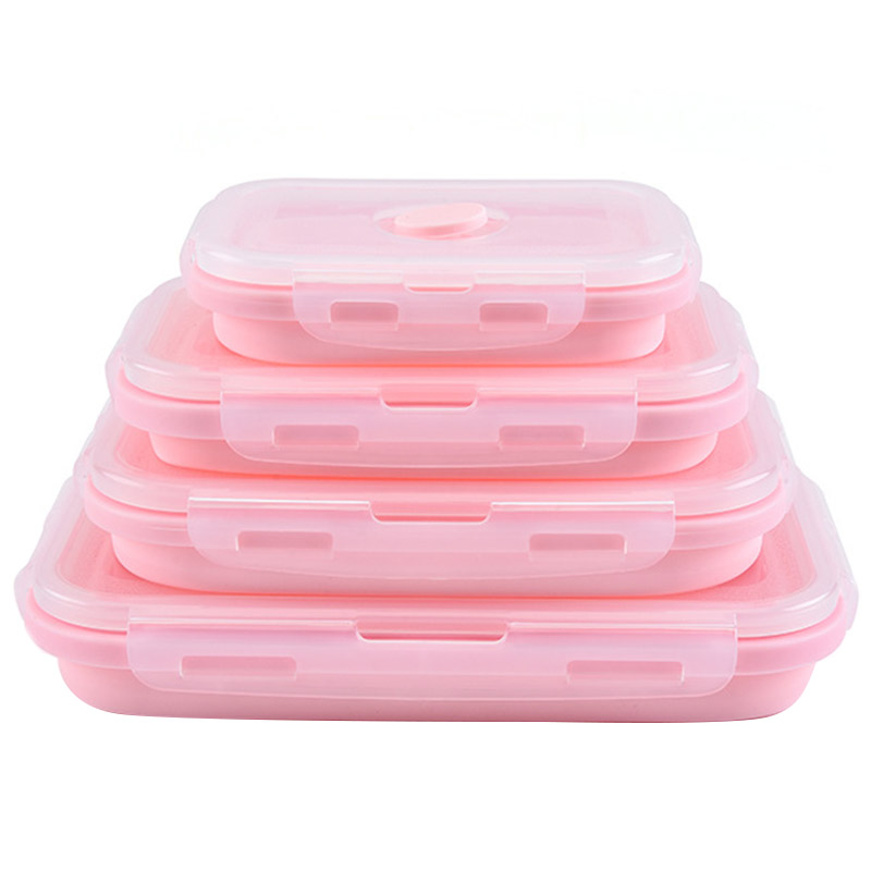 Lunch-Box Folding Collapsible Silicone Food-Container Eco-Friendly Portable Microwave