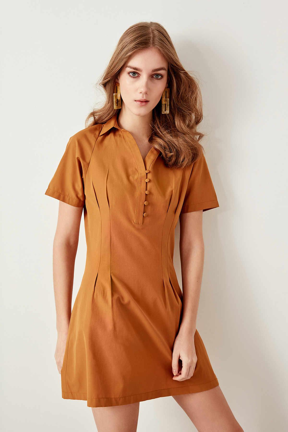Trendyol желтовато-коричневый платье поплин TWOSS19BY0014