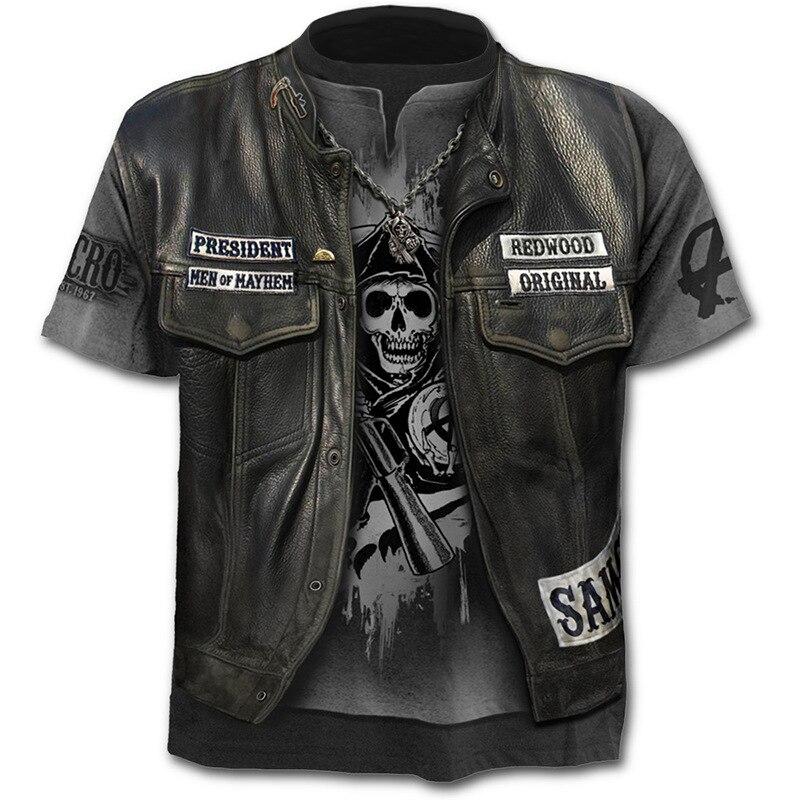 2019 New Fake Jacket Print T-Shirt Skull 3d T-Shirt Summer Trendy Short Sleeve T-Shirt Top Men/Female Short Sleeve Top