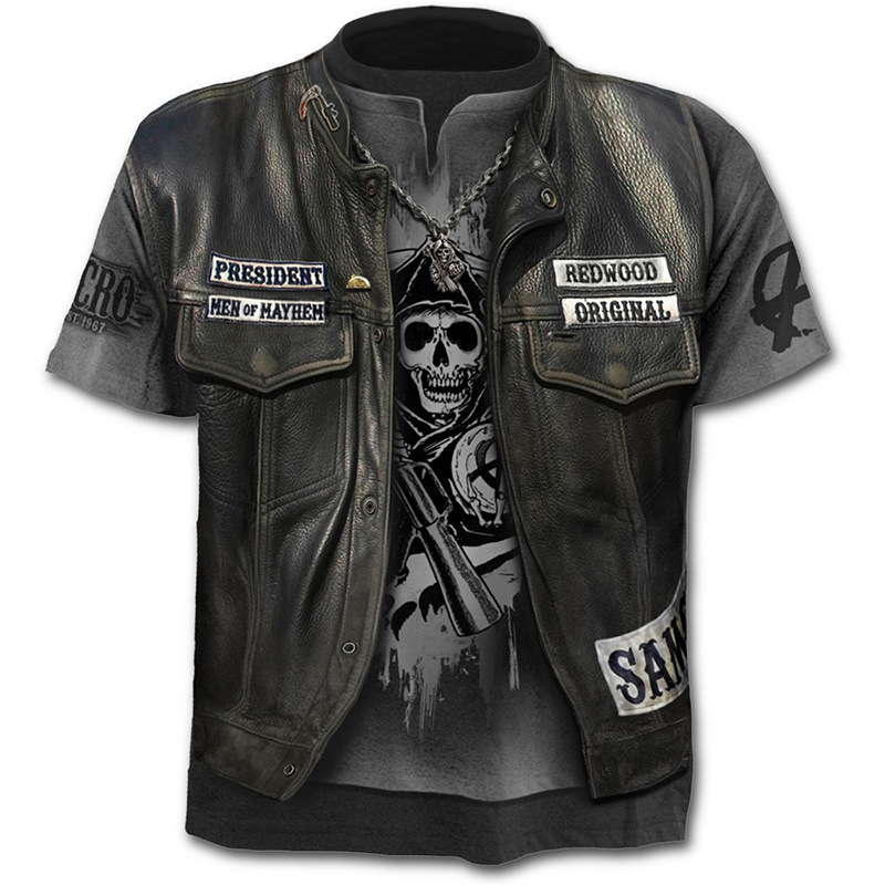 2019 neue Gefälschte Jacke Druck T-Shirt Schädel 3d T-Shirt Sommer Trendy Kurzarm T-Shirt Top Männer/Weibliche Kurzarm top