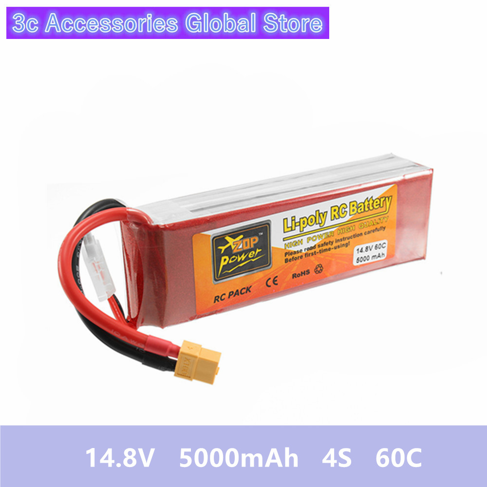 14 8V 5000mAh 4S 60C Lipo Battery ZOP Power Rechargeable XT60 Plug Connector For RC Quadcopter
