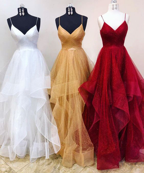 White Tulle Evening Dress 2020 Spaghetti Strap A Line Floor Length Long Formal Dresses Custom Made Sexy Women Party Gowns