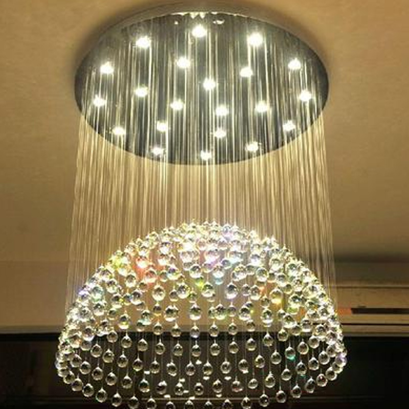 Luxury Circular Crystal LED Ceiling Light Living Room Home Restaurant Bedroom Modern Lamps Penthouse Floor Hall Stairs