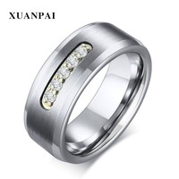 Wedding Brands Tungsten Carbide Men Ring Classic Cubic Zircon Stone Engagment Jewelry US Size 8 To Size 12