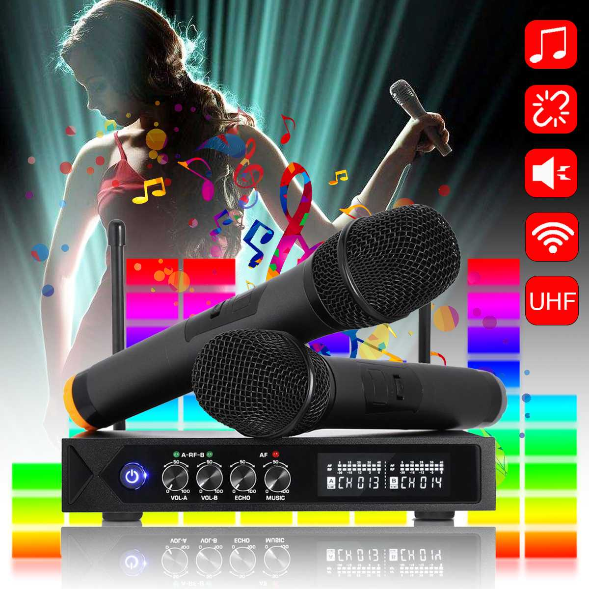 Reverberation Tuning Dual UHF bluetooth Wireless Microphone System Receiver Cordless Handheld Mic KTV Machine SpeakersReverberation Tuning Dual UHF bluetooth Wireless Microphone System Receiver Cordless Handheld Mic KTV Machine Speakers