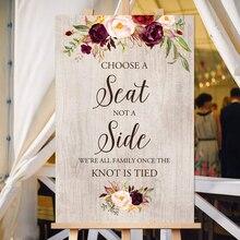 Выберите место, а не боковой знак, выберите Знак Церемонии сидения, добро пожаловать свадебные значки, знак для печати