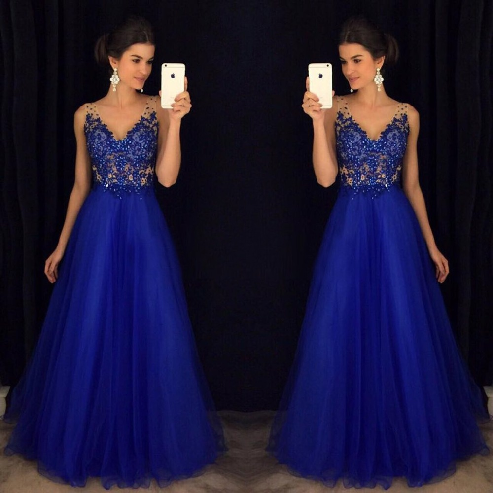 Royal Blue Beaded   Prom     Dresses   Long 2019 vestidos de fiesta largos elegantes de gala V Neck A Line Formal Evening Party Gowns