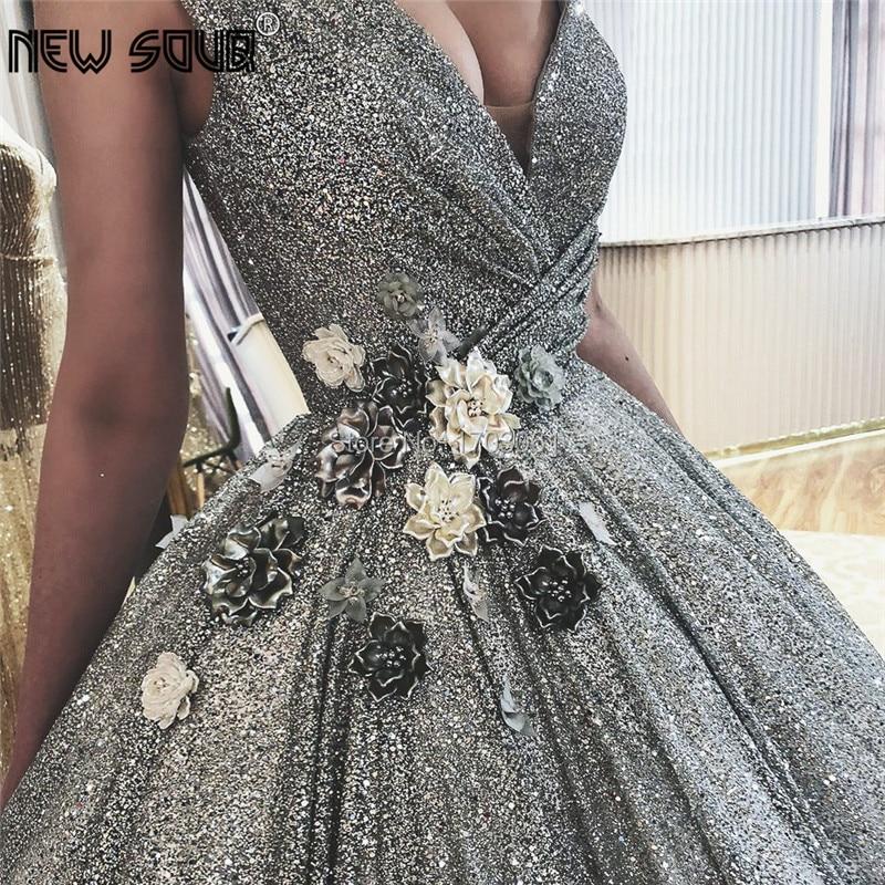 Shiny Arabic Evening Dresses Dubai Turkish Glitter Formal Prom Gowns Robe de soiree 2019 Islamic African V Neck Pageant Dress