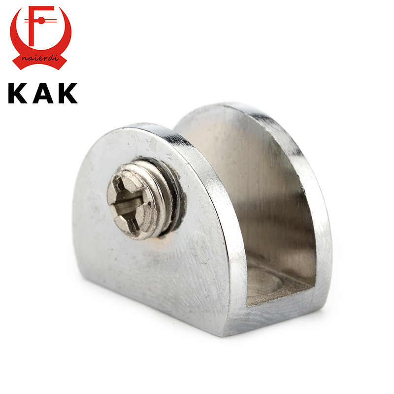 KAK Half Round Glass Clamps Plane Zinc Alloy Shelves Support Two Hole Corner Brackets Clips For 8mm Thick Furniture Hardware