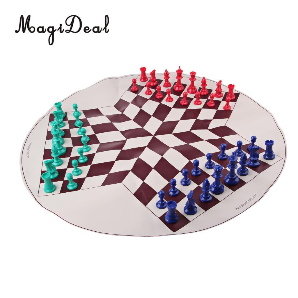 Three Player International Chess Checker Pieces With Chess Board Chess Set Checkers Chess Board Game