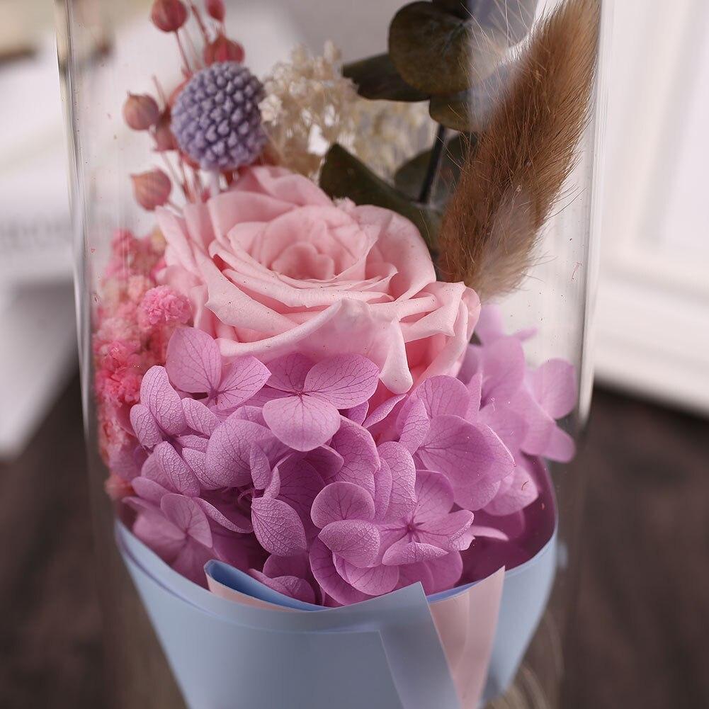 Forever Rose Flower розовое стекло покрытие декор с цветами розы декоративные красивые сохраненные свежими цветок светодиодный Блеск