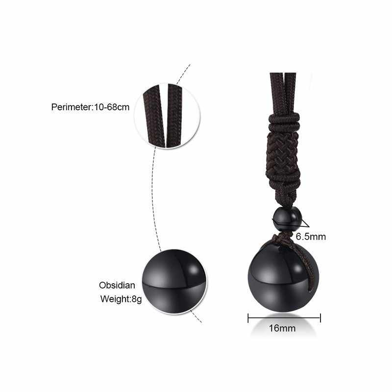 Vnox Vintage Natural Obsidian Lucky Bead Necklaces for Women Man with Adjustable Length Rope Choker collar Unisex Jewelry