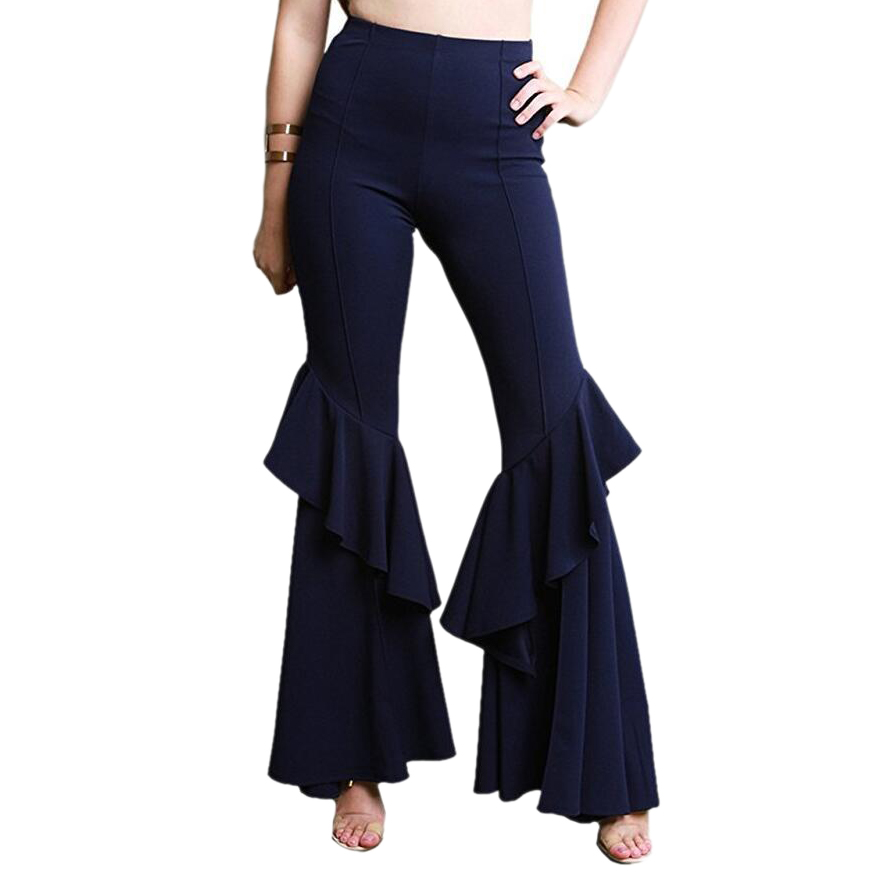 Elegant Women Ol High Waist   Wide     Leg     Pants   Trousers Bottoms Ruffle Bell Flared   Pants   Sexy Solid Wrinkled Trousers Ladies Cloth