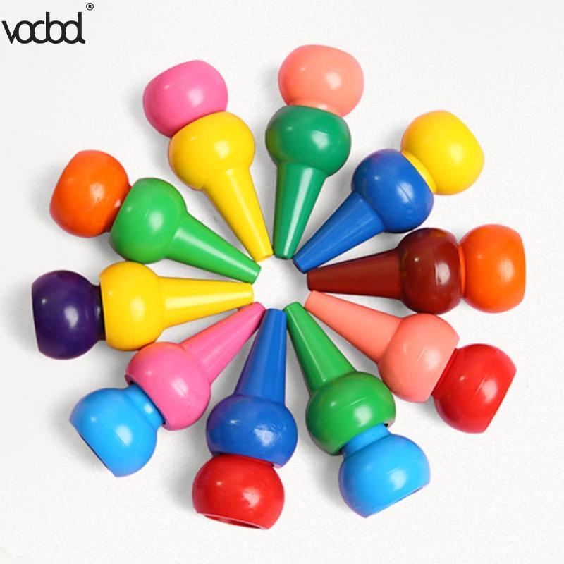 12 pçs não-tóxico criança pintura crayon crianças cor de segurança crayon bebê 3d dedo arte suprimentos jardim de infância escola papelaria novo