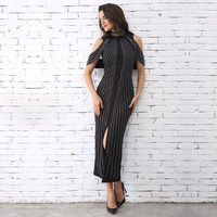 2019 Spring Fashion Slim Party Dress Beads Split Mid Calf Dress High Neck Sleeveless Bodycon Dress