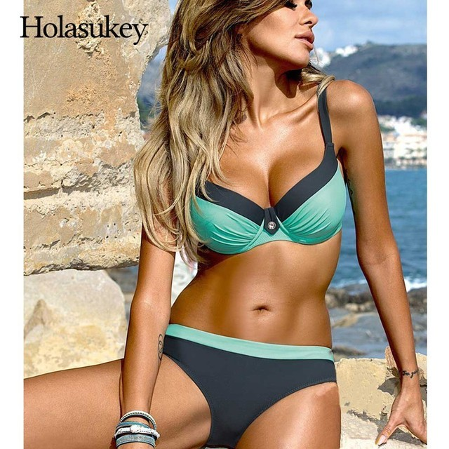 HolaSukey Set Solid Bikini Push Up Swimsuit 2019 Sexy New Bikinis Women Print Swimwear Women Bathing Suit Biquini Beachwear