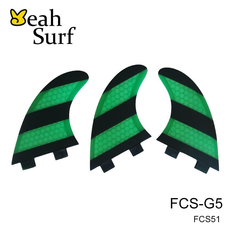Prancha Quilhas de Surf FCS Fin G5 / G7 Størrelse Honeycomb Grønne Hvide Finder Carbon Fiber Fiberglass Surfboard Fin FCS Tri Set