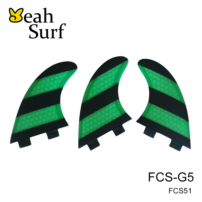 prancha quilhas de Surf FCS Fin G5 / G7 Dimensione a nido d'ape Verde - Sport acquatici