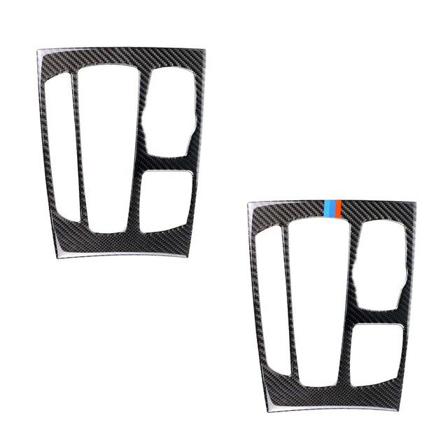 Para bmw x5 x6 f15 f16 2014 2015 2016 2017 fibra de carbono do carro deslocamento de engrenagem painel quadro capa
