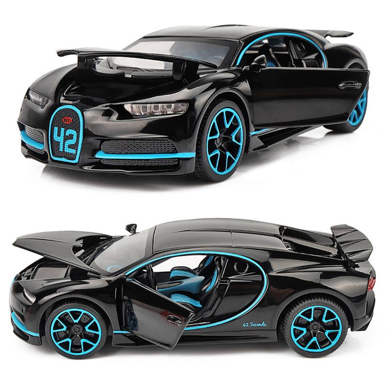 For 1:32 New Bugatti Alloy Model Sound And Light Pull Back Toy Car With Base Children Birthday Gift